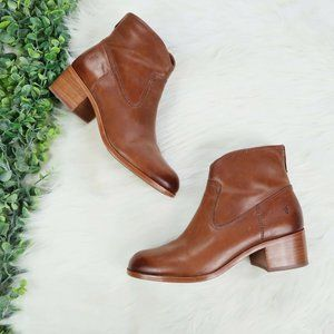 Frye Claire Cognac Ankle Boots Booties Size 8.5
